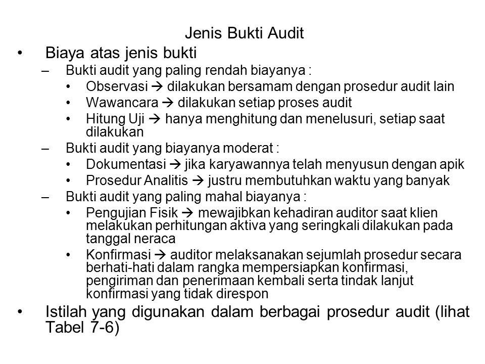 Istilah yang digunakan dalam berbagai prosedur audit (lihat Tabel 7-6)