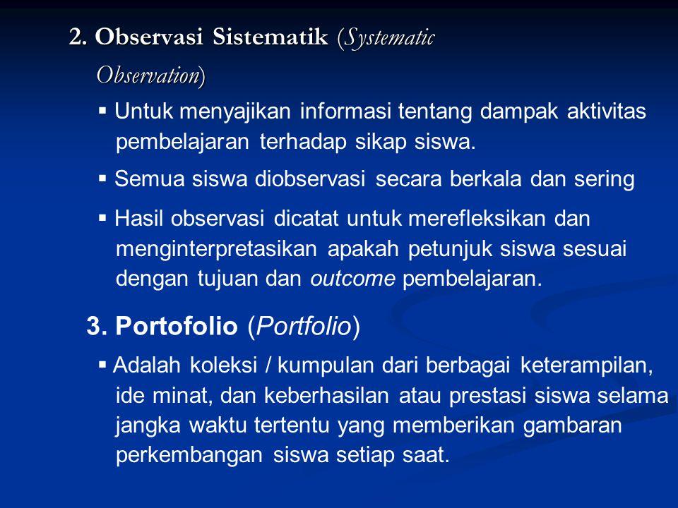 2. Observasi Sistematik (Systematic Observation)