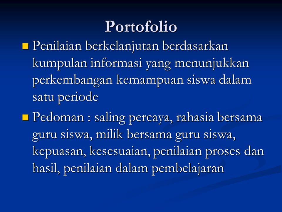 Portofolio Penilaian berkelanjutan berdasarkan kumpulan informasi yang menunjukkan perkembangan kemampuan siswa dalam satu periode.