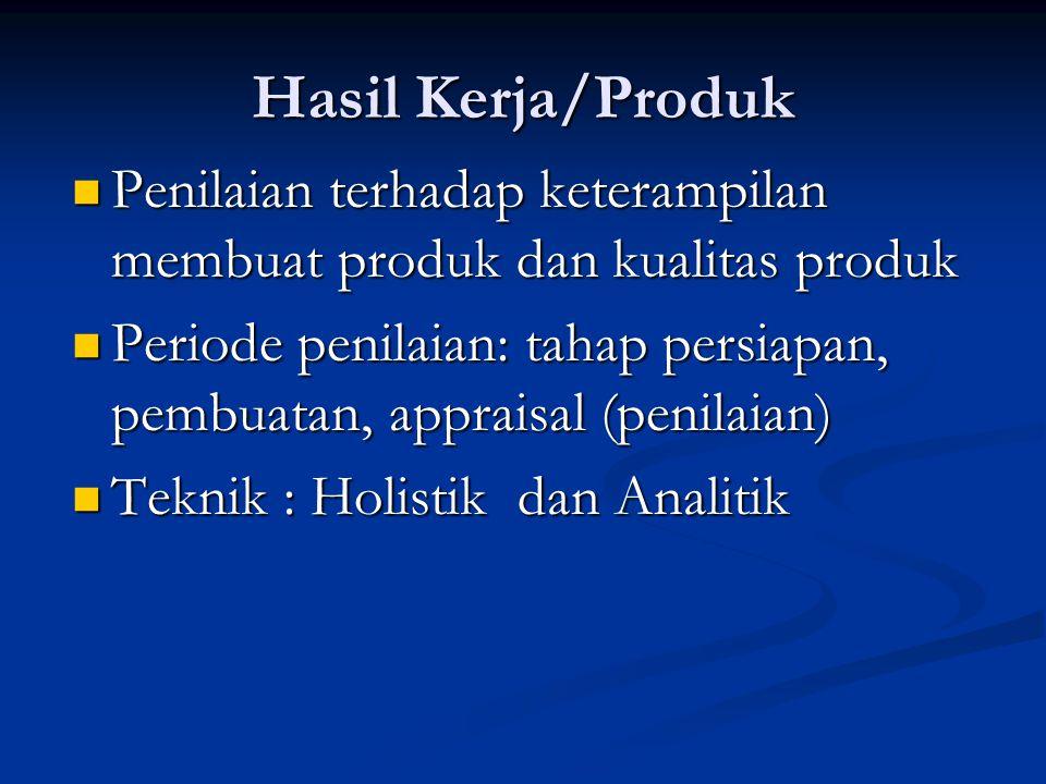 Hasil Kerja/Produk Penilaian terhadap keterampilan membuat produk dan kualitas produk.
