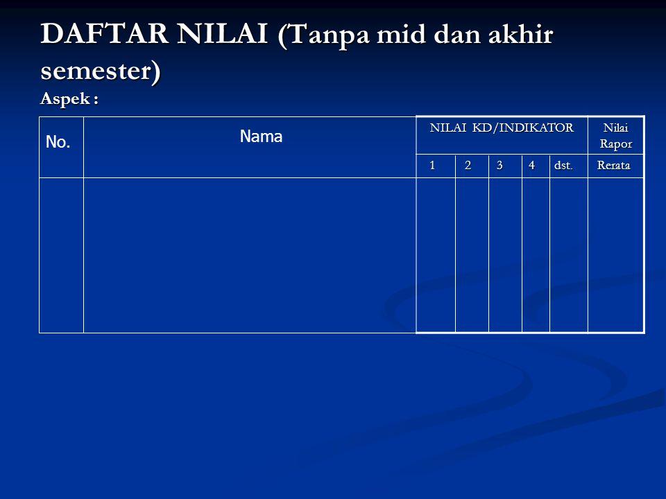 DAFTAR NILAI (Tanpa mid dan akhir semester) Aspek :