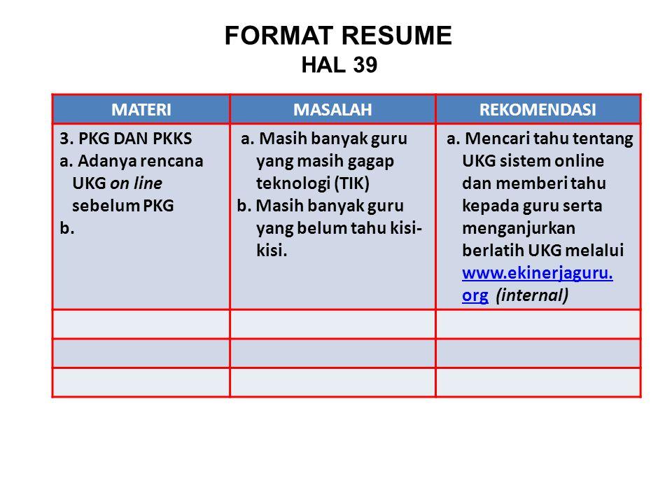 FORMAT RESUME HAL 39 MATERI MASALAH REKOMENDASI 3. PKG DAN PKKS