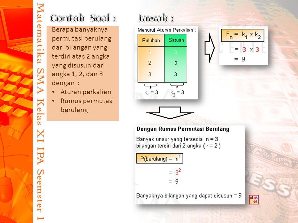 Contoh Soal : Jawab : Berapa banyaknya permutasi berulang dari bilangan yang terdiri atas 2 angka yang disusun dari angka 1, 2, dan 3 dengan :