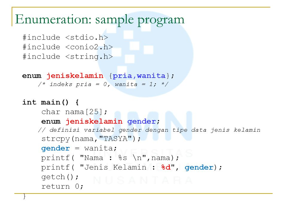 Enumeration: sample program