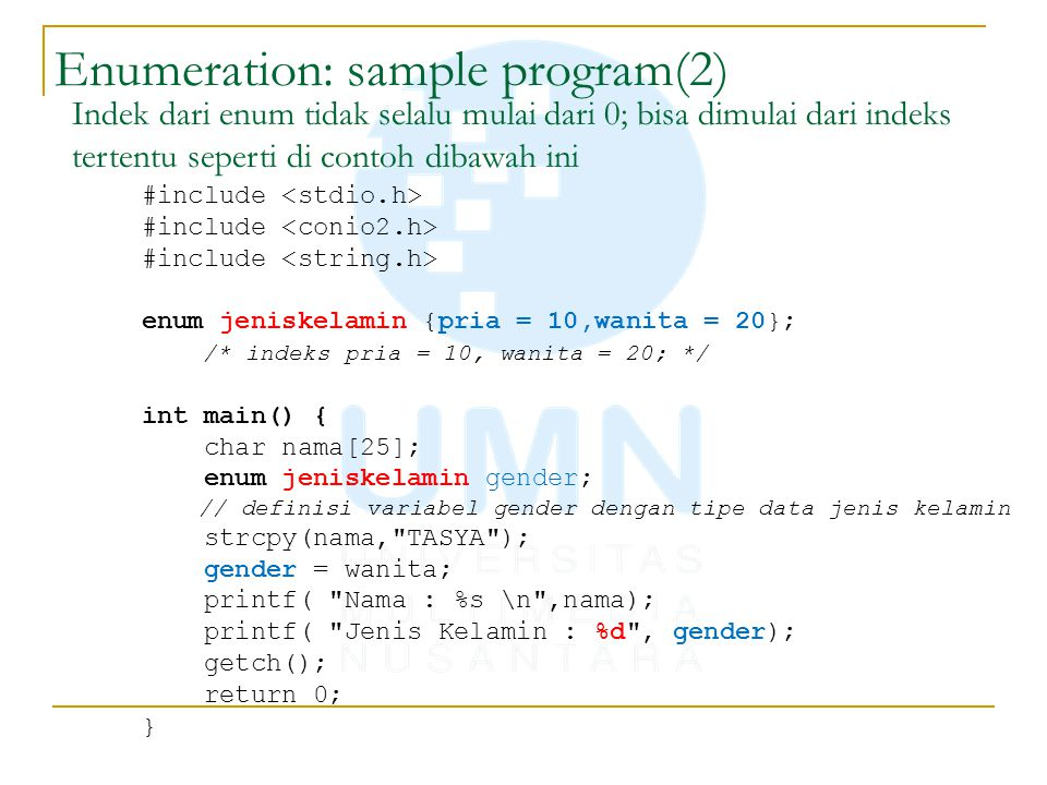 Enumeration: sample program(2)