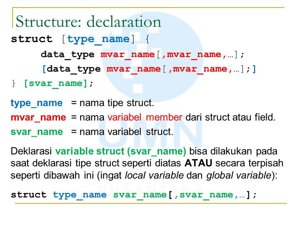 Structure: declaration