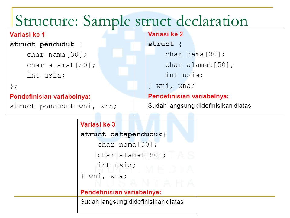 Structure: Sample struct declaration