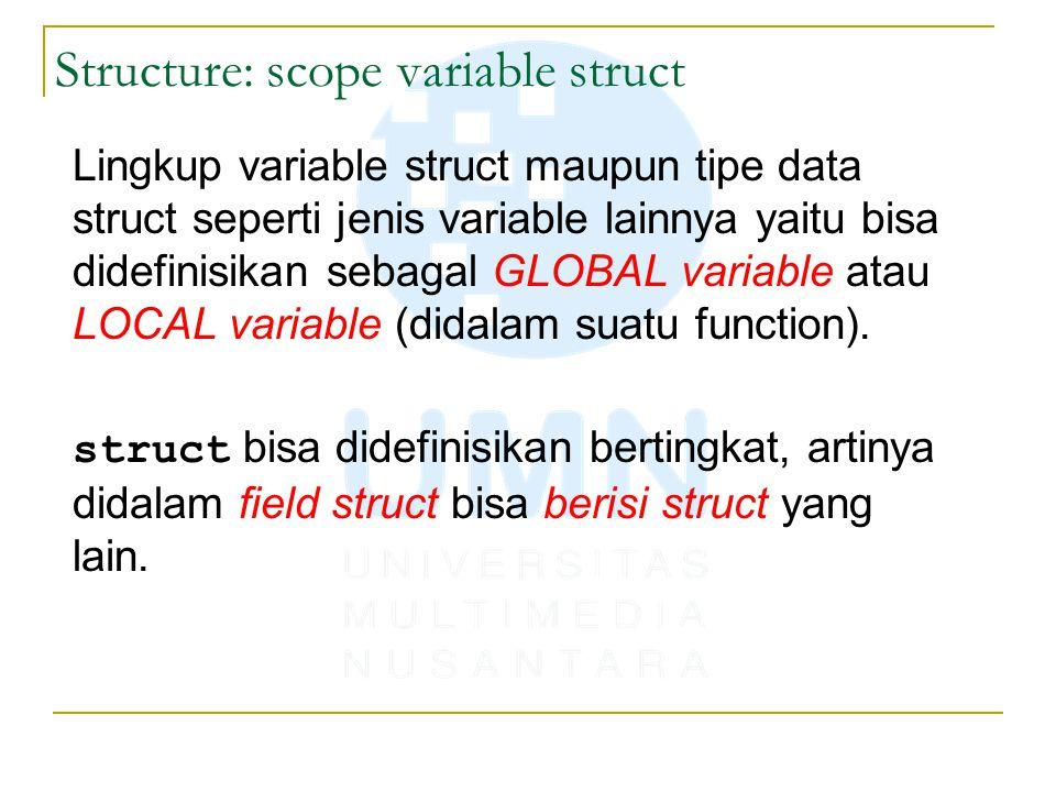 Structure: scope variable struct