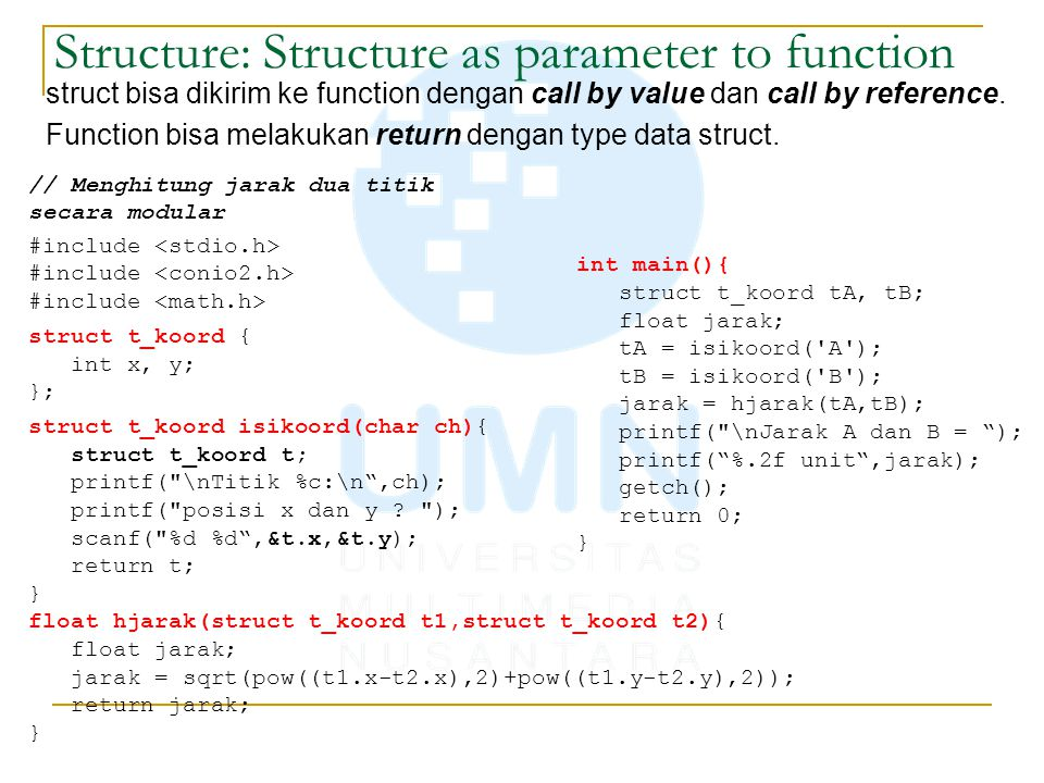 Structure: Structure as parameter to function