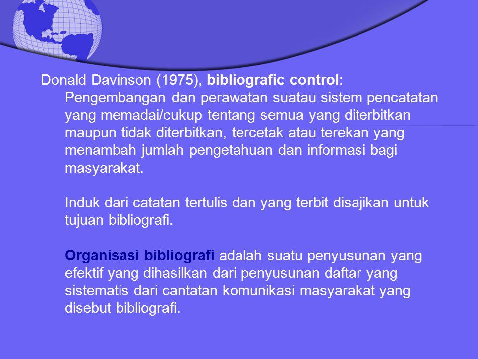 Donald Davinson (1975), bibliografic control: