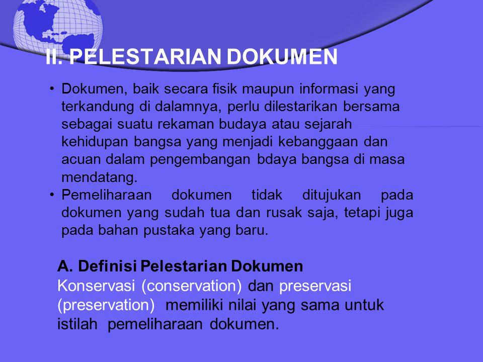 II. PELESTARIAN DOKUMEN
