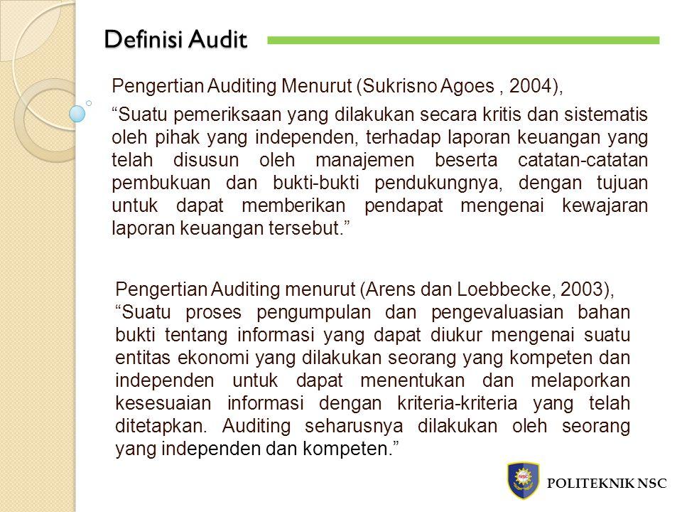 Definisi Audit Pengertian Auditing Menurut (Sukrisno Agoes , 2004),