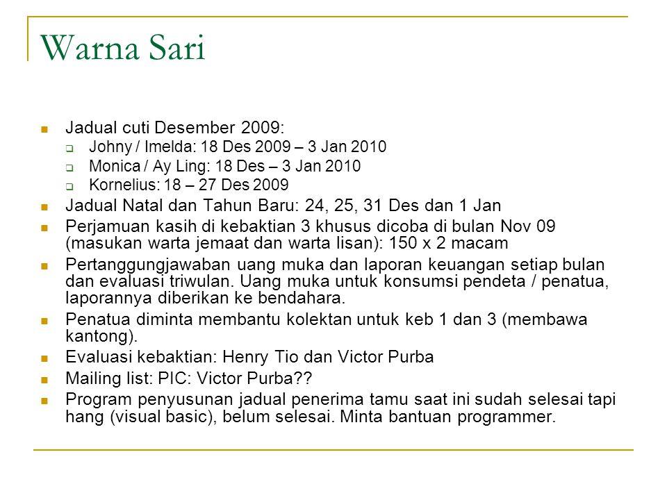 Warna Sari Jadual cuti Desember 2009: