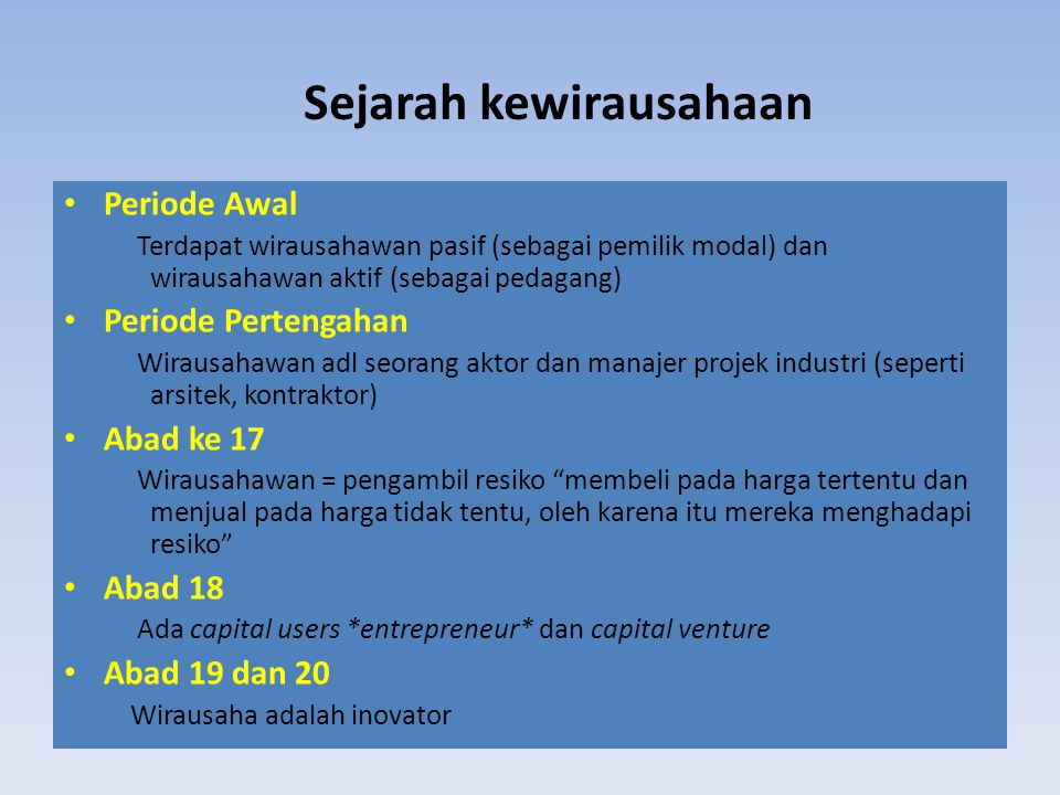 Sejarah kewirausahaan