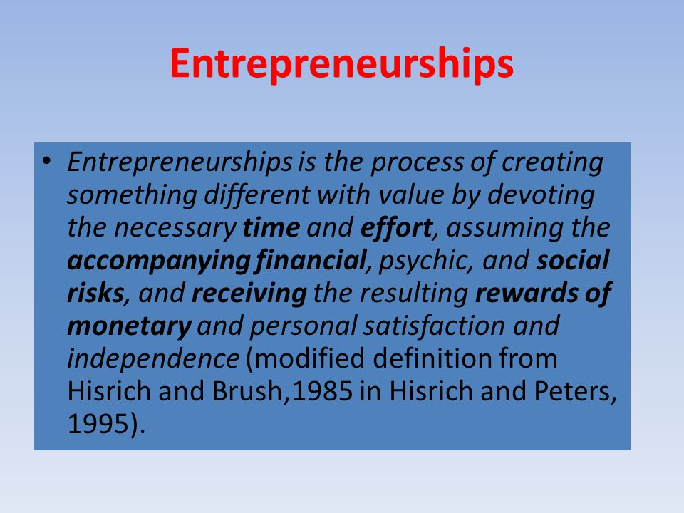 Entrepreneurships