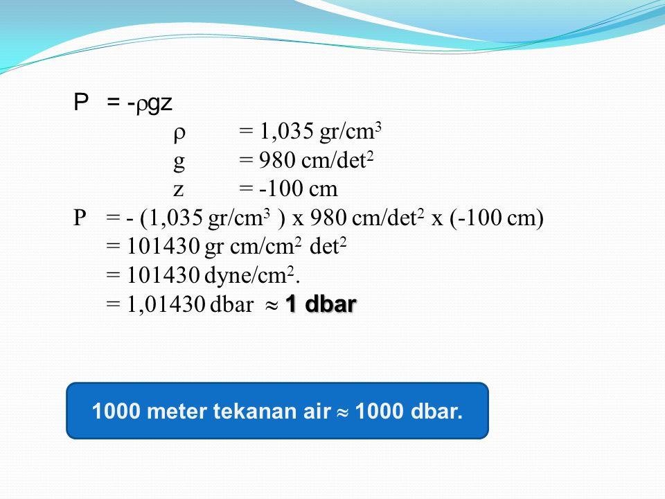 1000 meter tekanan air  1000 dbar.