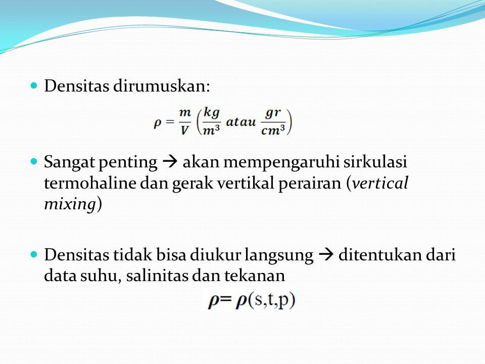 Densitas dirumuskan: Sangat penting  akan mempengaruhi sirkulasi termohaline dan gerak vertikal perairan (vertical mixing)