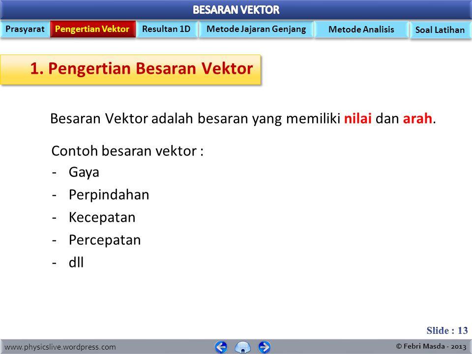 1. Pengertian Besaran Vektor