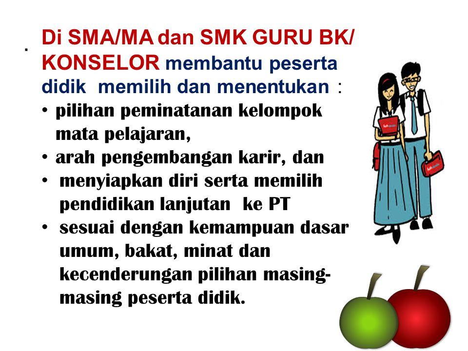 Di SMA/MA dan SMK GURU BK/ KONSELOR membantu peserta didik memilih dan menentukan :