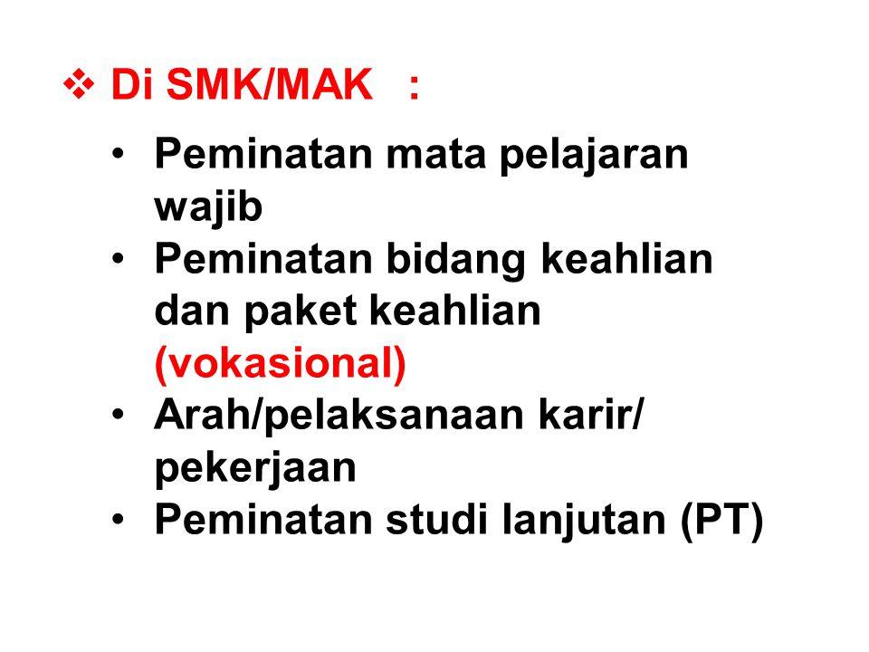 Di SMK/MAK : Peminatan mata pelajaran wajib. Peminatan bidang keahlian dan paket keahlian (vokasional)