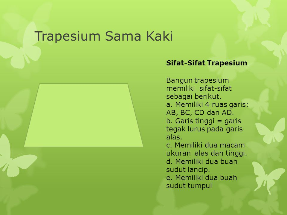 Trapesium Sama Kaki Sifat-Sifat Trapesium