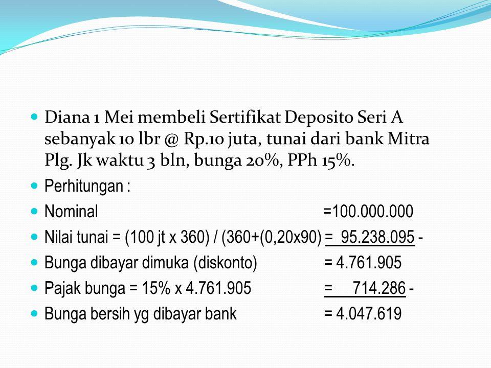 Diana 1 Mei membeli Sertifikat Deposito Seri A sebanyak 10 lbr @ Rp