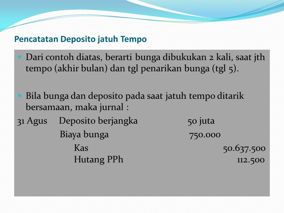 Pencatatan Deposito jatuh Tempo