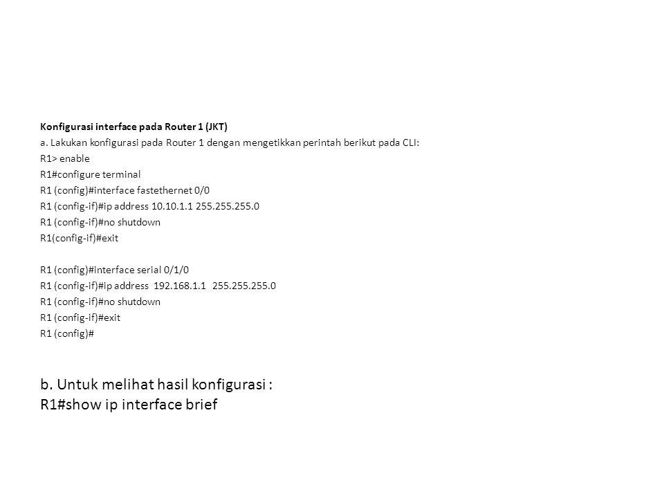 b. Untuk melihat hasil konfigurasi : R1#show ip interface brief