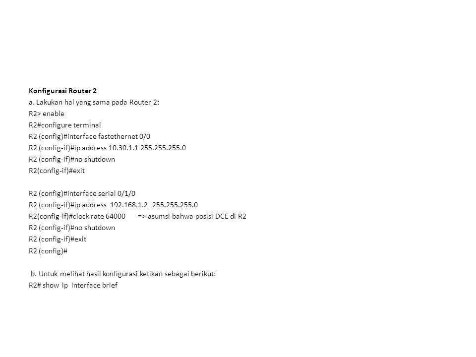 Konfigurasi Router 2 a.