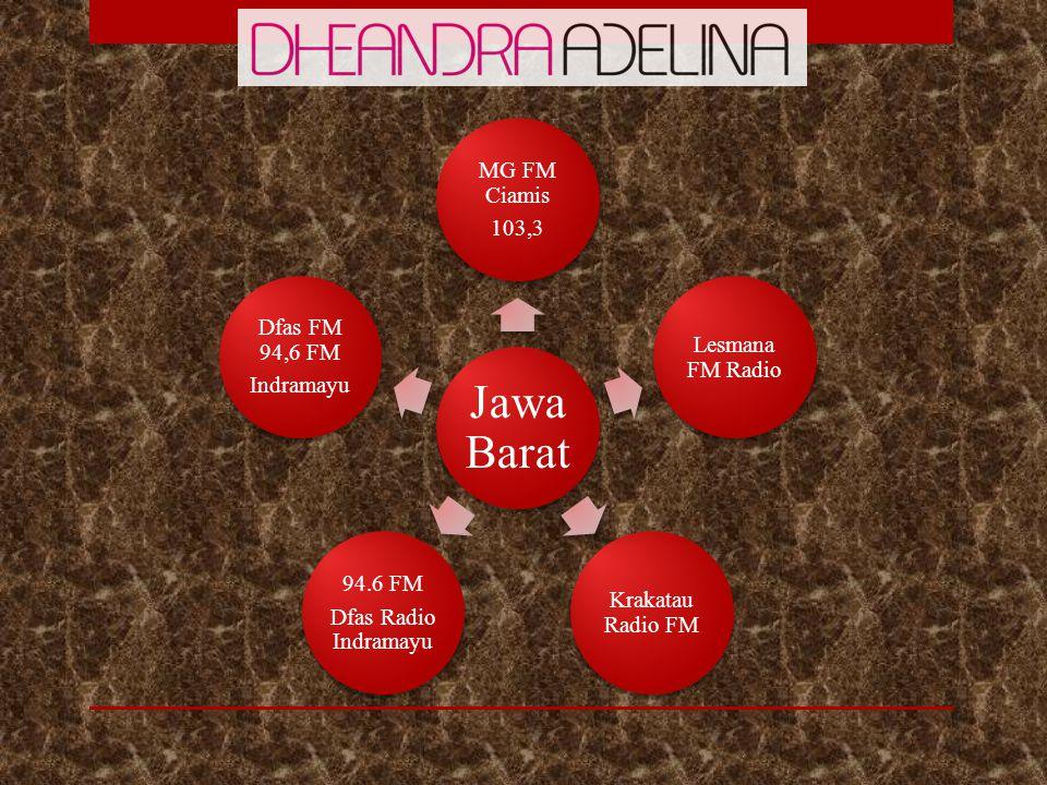 Jawa Barat MG FM Ciamis. 103,3. Lesmana FM Radio. Krakatau Radio FM. Dfas Radio Indramayu. 94.6 FM.