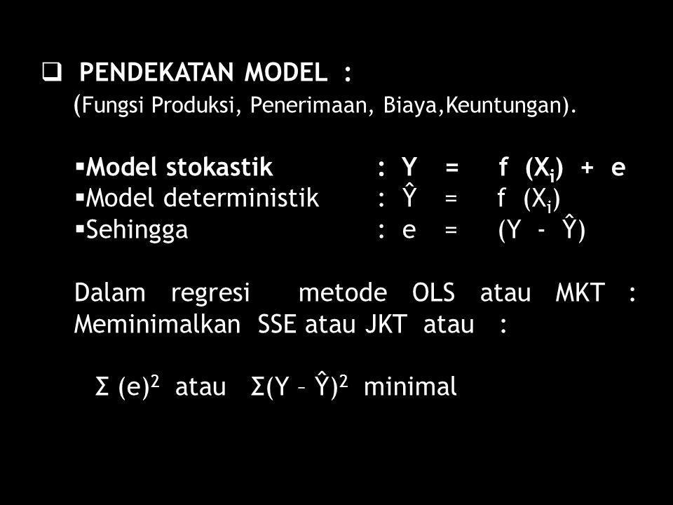 PENDEKATAN MODEL : (Fungsi Produksi, Penerimaan, Biaya,Keuntungan). Model stokastik : Y = f (Xi) + e.