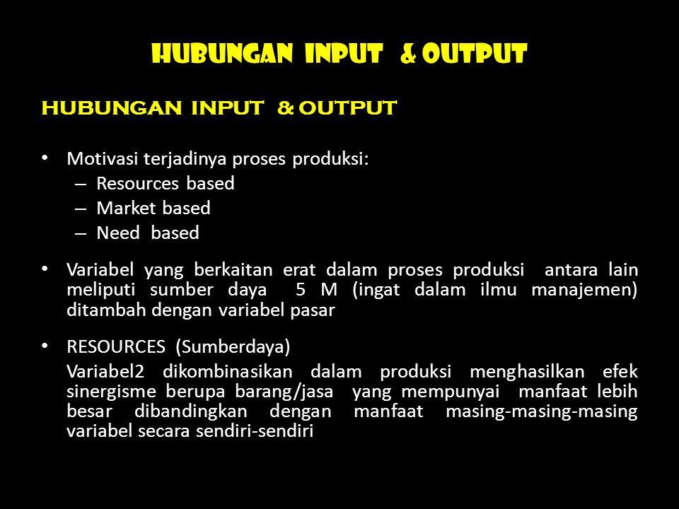 HUBUNGAN INPUT & OUTPUT