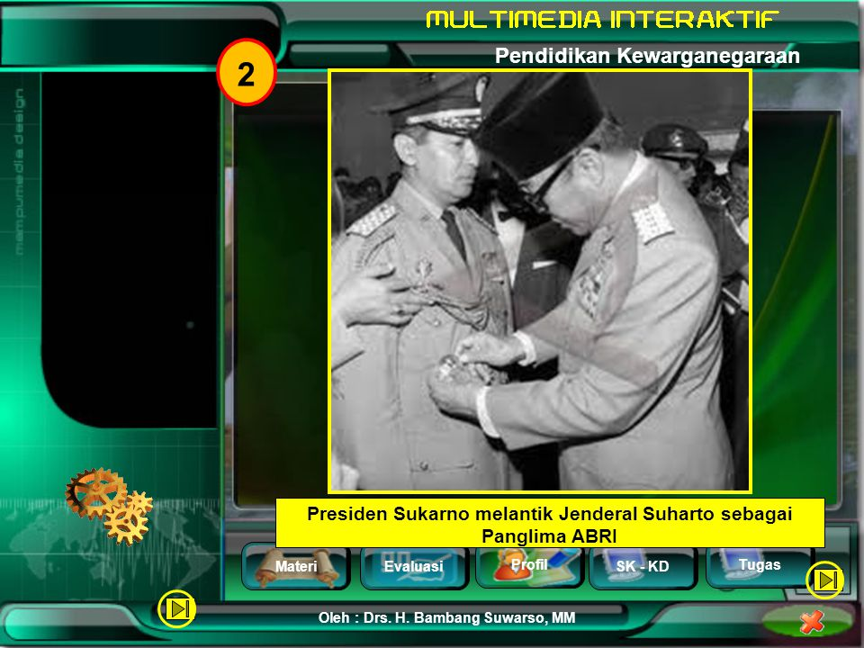 Presiden Sukarno melantik Jenderal Suharto sebagai Panglima ABRI