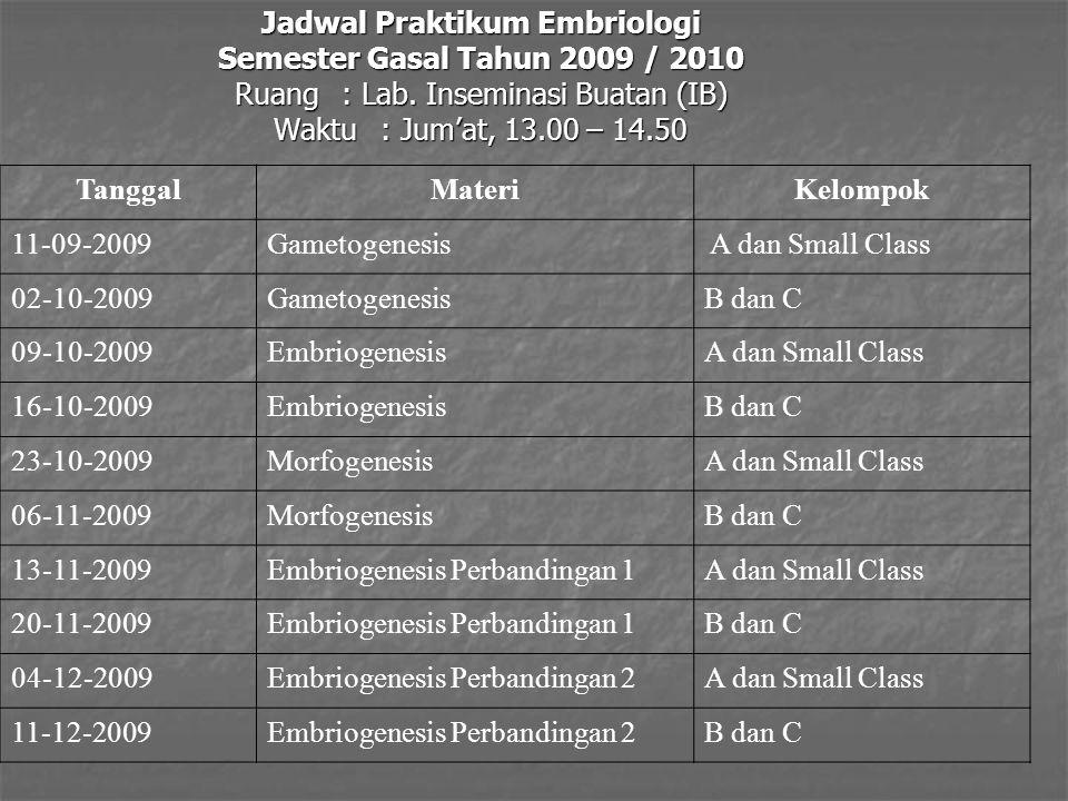 Jadwal Praktikum Embriologi Semester Gasal Tahun 2009 / 2010 Ruang