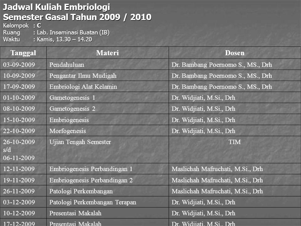 Jadwal Kuliah Embriologi Semester Gasal Tahun 2009 / 2010 Kelompok