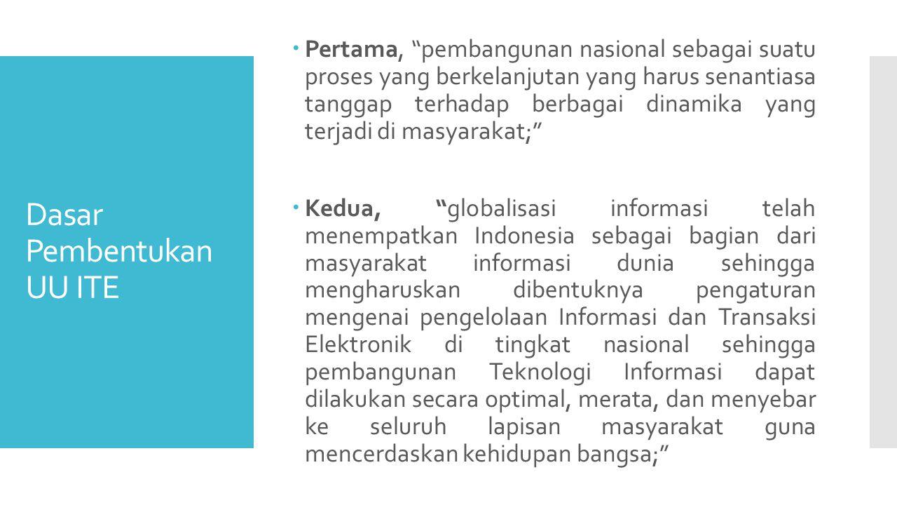 Dasar Pembentukan UU ITE