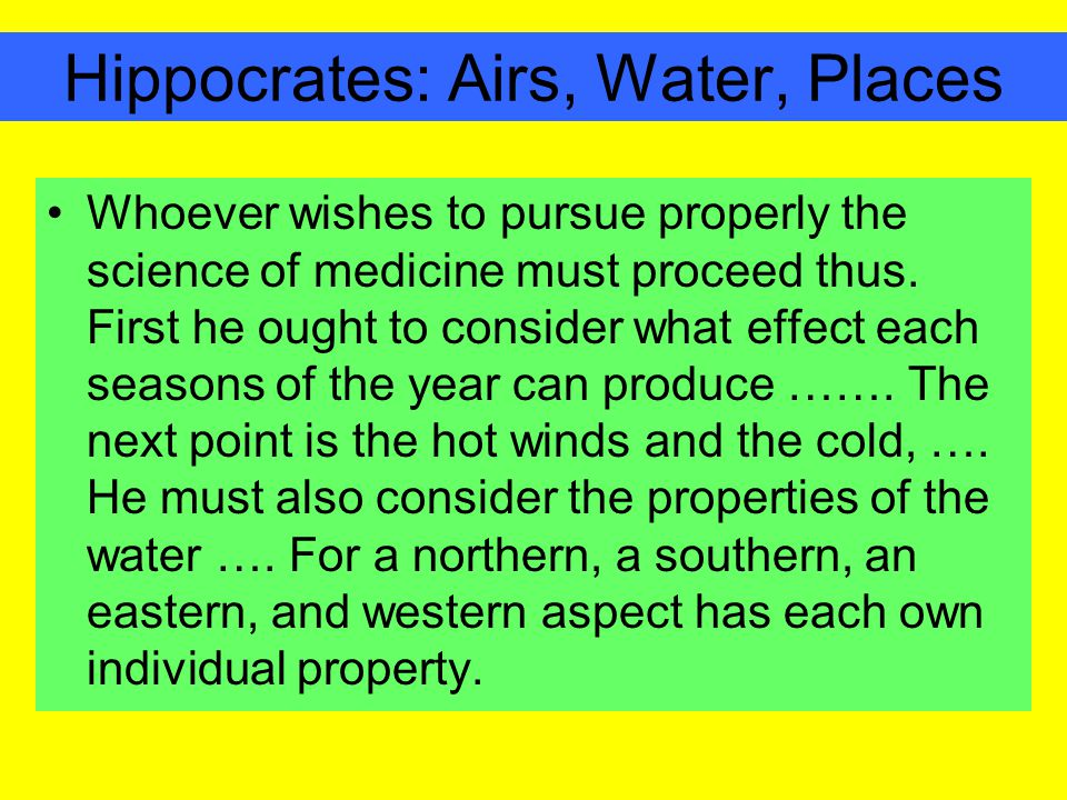 Hippocrates: Airs, Water, Places