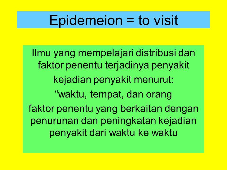 Epidemeion = to visit Ilmu yang mempelajari distribusi dan faktor penentu terjadinya penyakit. kejadian penyakit menurut: