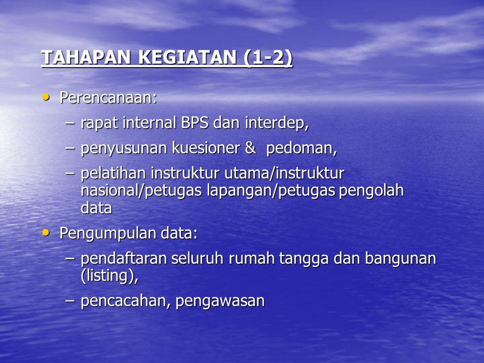 TAHAPAN KEGIATAN (1-2) Perencanaan: rapat internal BPS dan interdep,
