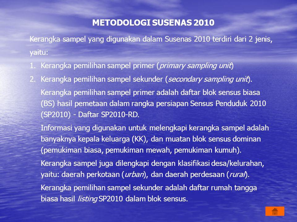 METODOLOGI SUSENAS 2010 Kerangka sampel yang digunakan dalam Susenas 2010 terdiri dari 2 jenis, yaitu: