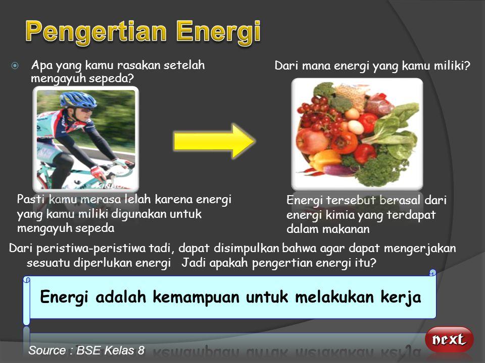 Energi adalah kemampuan untuk melakukan kerja