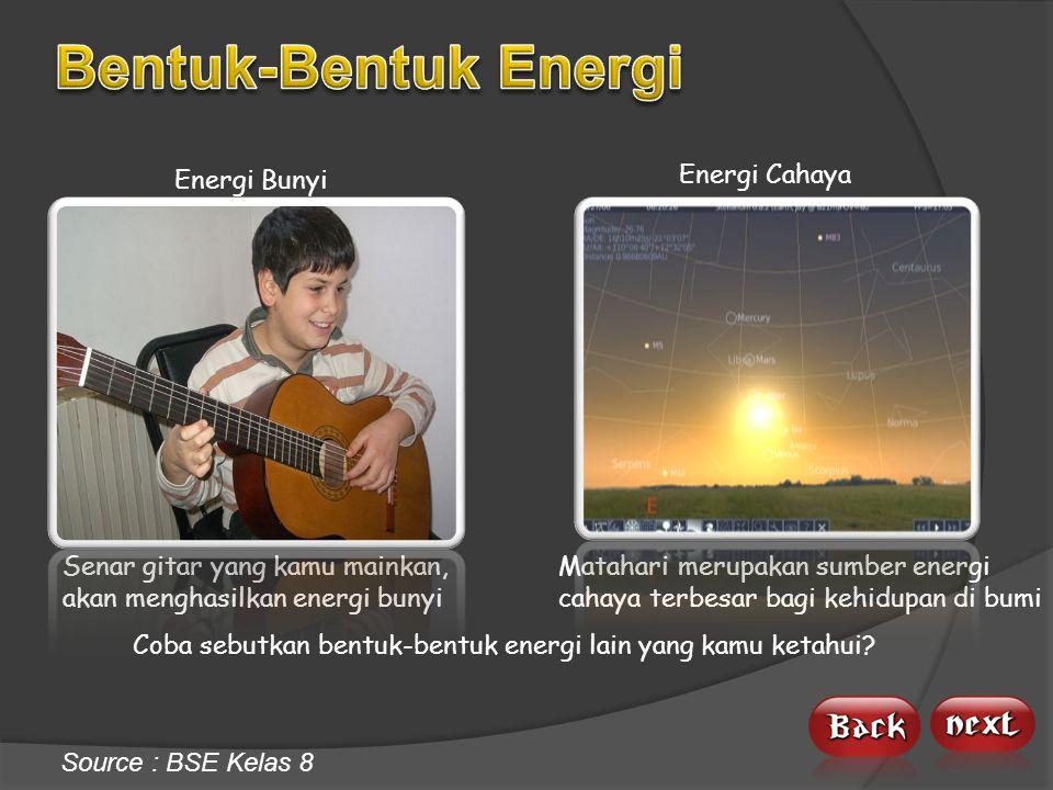 Bentuk-Bentuk Energi Energi Bunyi Energi Cahaya