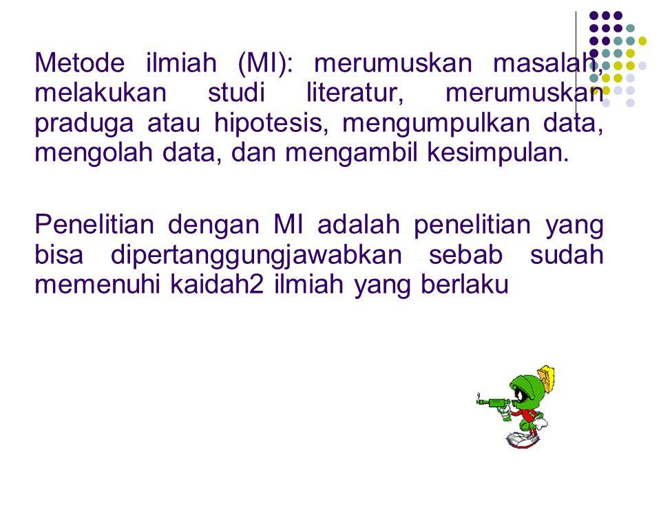Metode ilmiah (MI): merumuskan masalah, melakukan studi literatur, merumuskan praduga atau hipotesis, mengumpulkan data, mengolah data, dan mengambil kesimpulan.