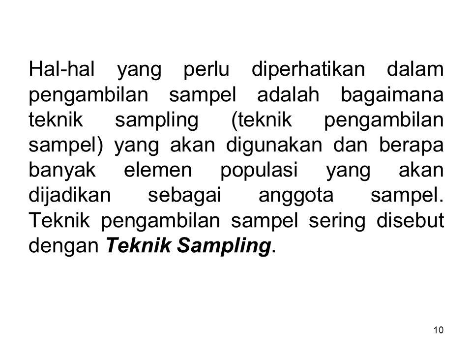 Hal-hal yang perlu diperhatikan dalam pengambilan sampel adalah bagaimana teknik sampling (teknik pengambilan sampel) yang akan digunakan dan berapa banyak elemen populasi yang akan dijadikan sebagai anggota sampel.