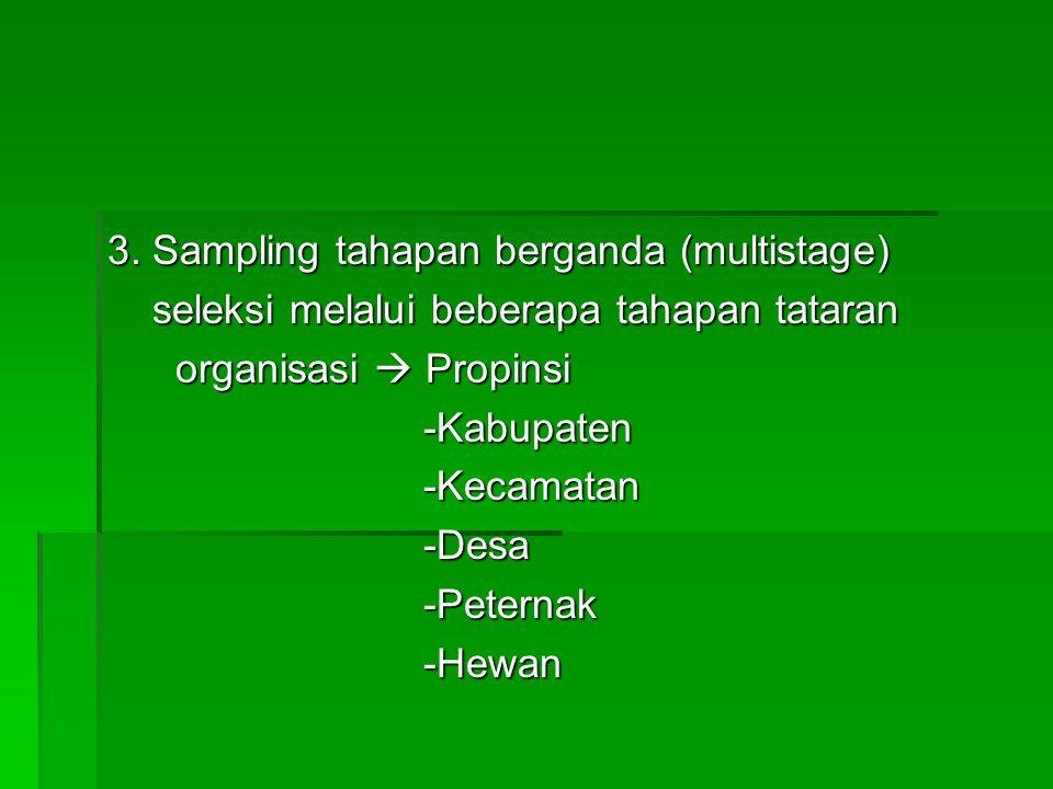 3. Sampling tahapan berganda (multistage)