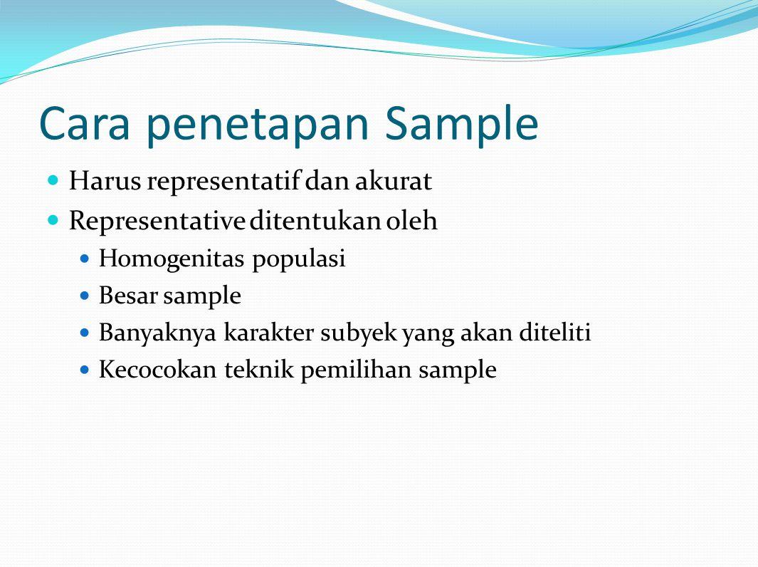 Cara penetapan Sample Harus representatif dan akurat