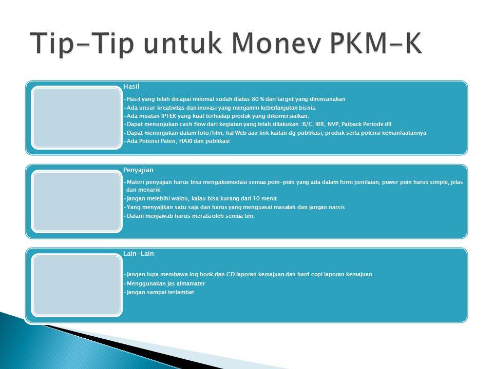 Tip-Tip untuk Monev PKM-K