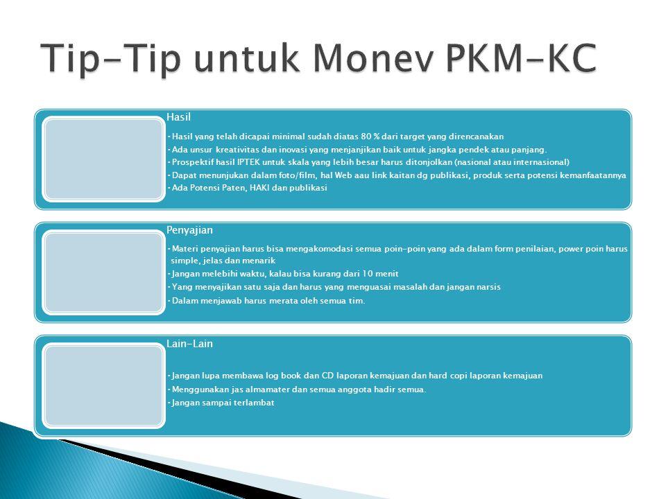 Tip-Tip untuk Monev PKM-KC