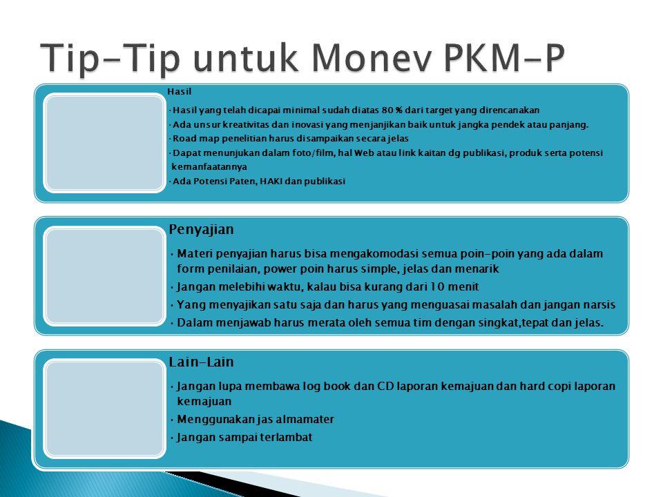 Tip-Tip untuk Monev PKM-P