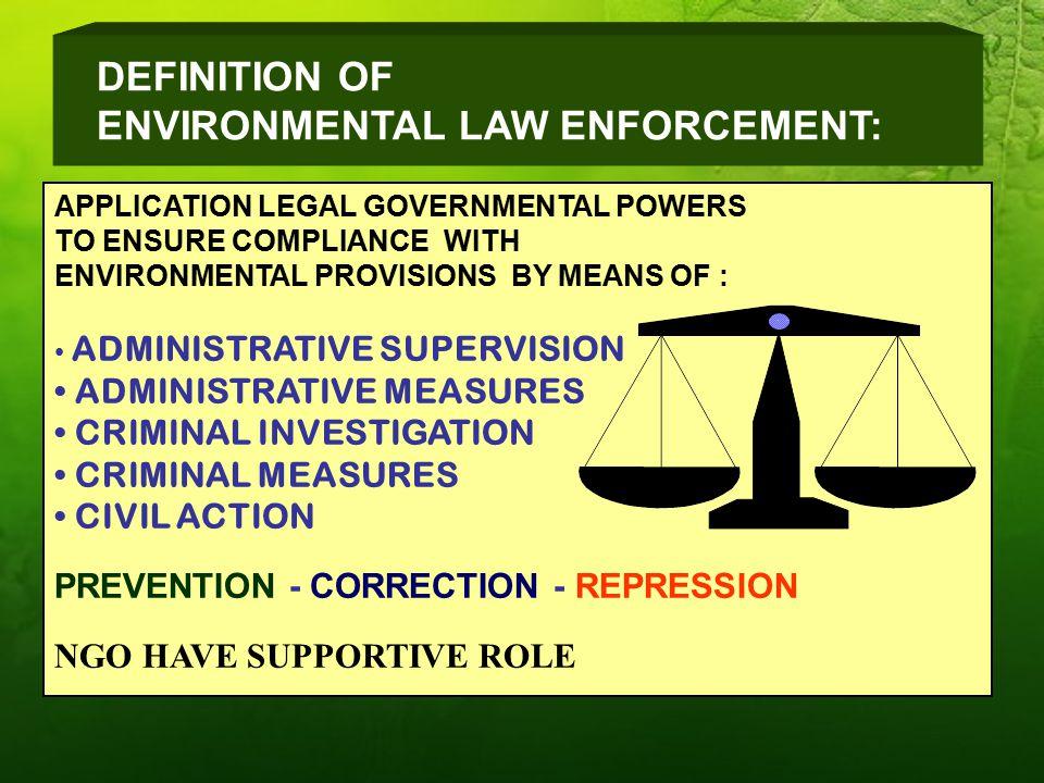 ENVIRONMENTAL LAW ENFORCEMENT: